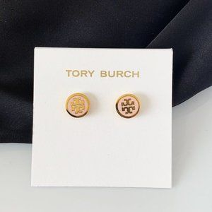 Tory Burch logo baby pink earrings